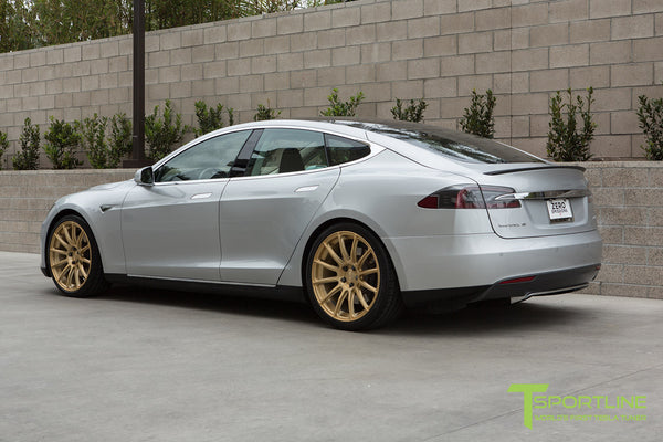 Silver Tesla Model S 1.0 with Ghost Gold 21 inch TS112 Forged Wheels 3