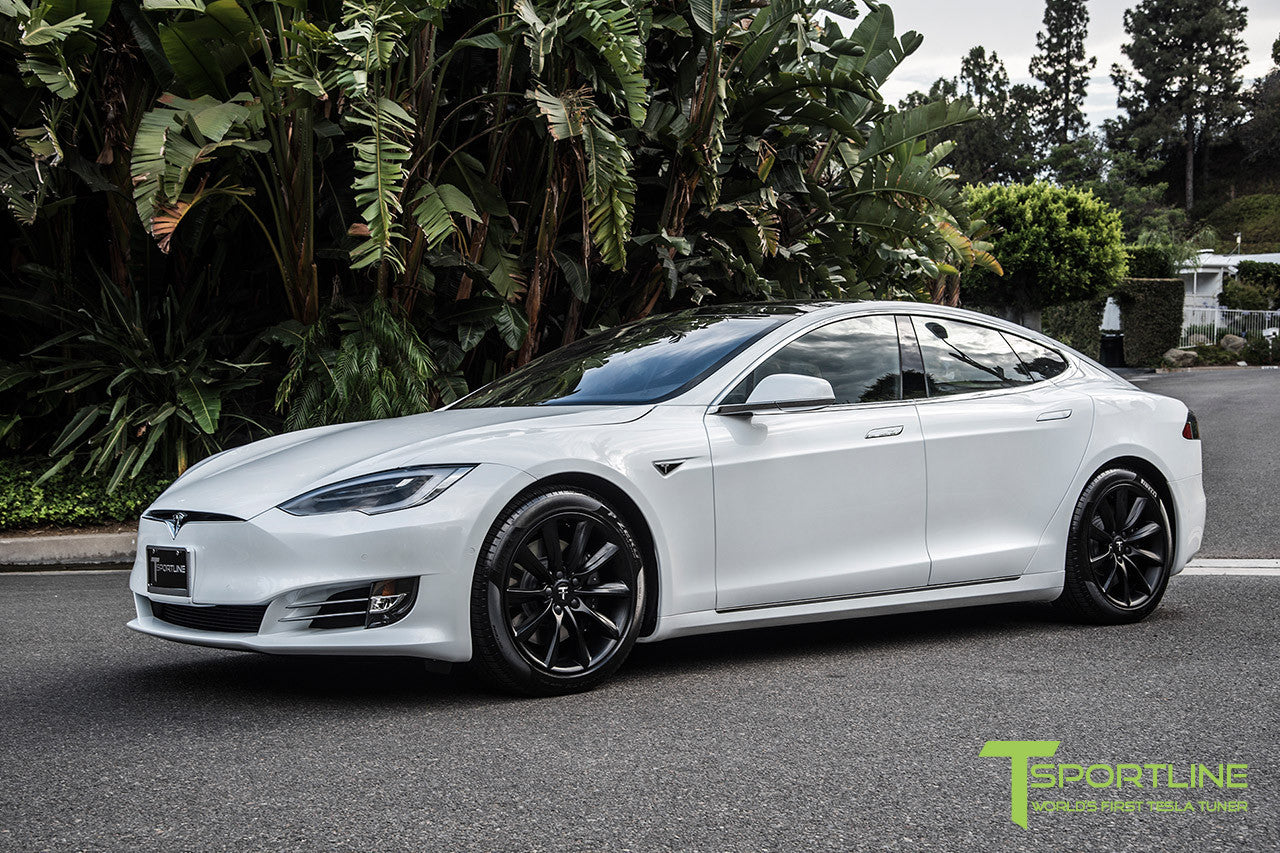 "White Model S 2.0 with 19"" TST Tesla Wheel in Matte Black"