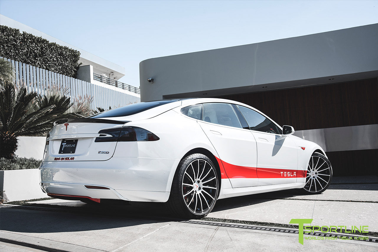 Project Snow Tiger - Tesla Model S P90D - Custom Red and White Alcantara Interior - 21 Inch TS114 Forged Wheels 18