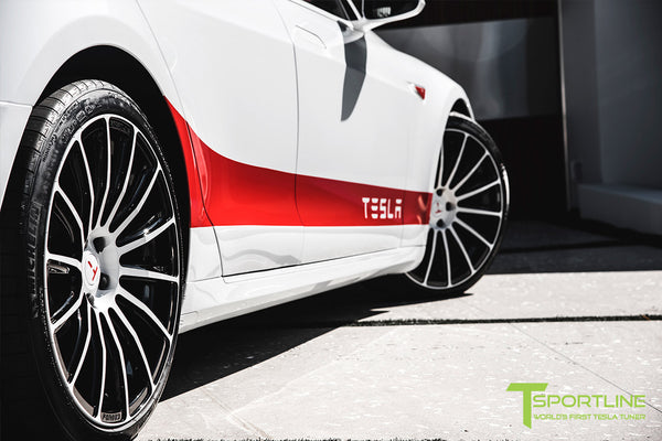 Project Snow Tiger - Tesla Model S P90D - Custom Red and White Alcantara Interior - 21 Inch TS114 Forged Wheels 16