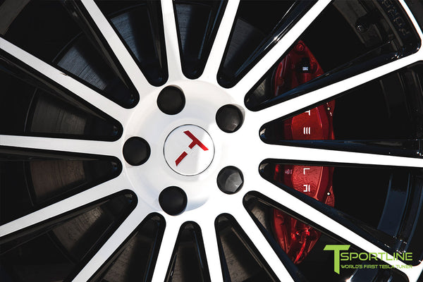 Project Snow Tiger - Tesla Model S P90D - Custom Red and White Alcantara Interior - 21 Inch TS114 Forged Wheels 22