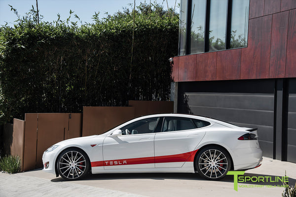 Project Snow Tiger - Tesla Model S P90D - Custom Red and White Alcantara Interior - 21 Inch TS114 Forged Wheels 20
