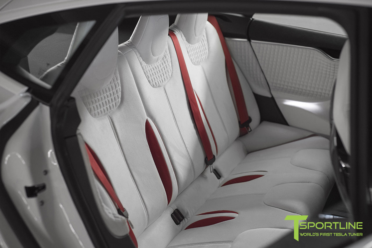 Project Snow Tiger - Tesla Model S P90D - Custom Red and White Alcantara Interior - 21 Inch TS114 Forged Wheels 5