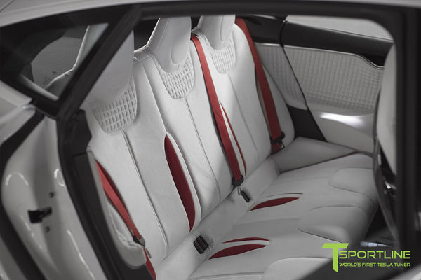 Project Snow Tiger - Model S (2012-2016) - Custom White and Red Alcantara Interior - Piano Black Trim by T Sportline 5