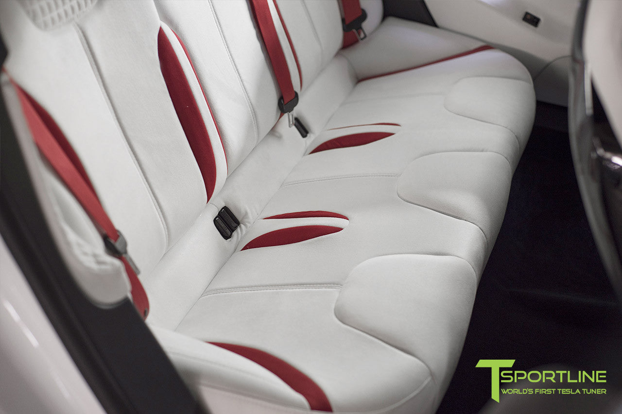 Project Snow Tiger - Model S (2012-2016) - Custom White and Red Alcantara Interior - Piano Black Trim by T Sportline 4