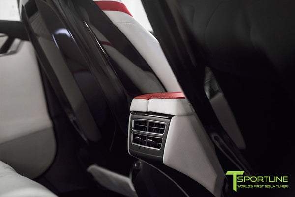 Project Snow Tiger - Model S (2012-2016) - Custom White and Red Alcantara Interior - Piano Black Trim by T Sportline 2
