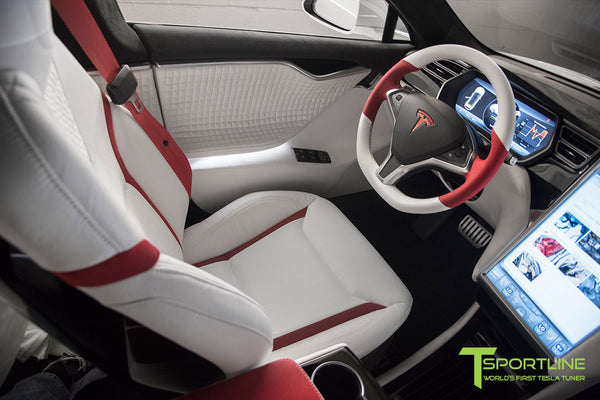 Project Snow Tiger - Model S (2012-2016) - Custom White and Red Alcantara Interior - Piano Black Trim by T Sportline 15