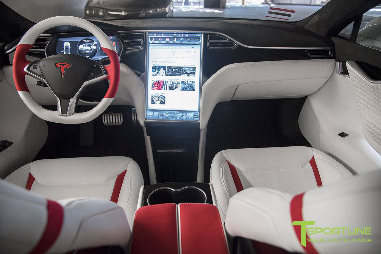 white tesla model s 1 0 custom red and white alcantara interior tesla model. Black Bedroom Furniture Sets. Home Design Ideas