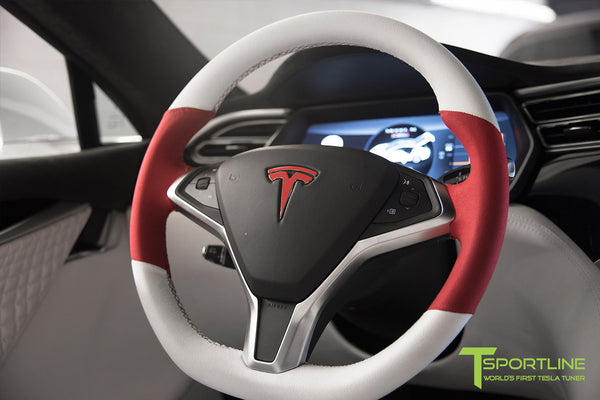 Project Snow Tiger - Model S (2012-2016) - Custom White and Red Alcantara Interior - Piano Black Trim by T Sportline 13