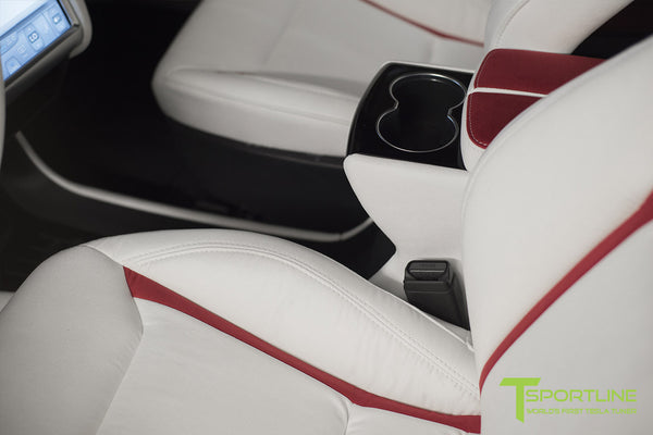 Project Snow Tiger - Model S (2012-2016) - Custom White and Red Alcantara Interior - Piano Black Trim by T Sportline 12
