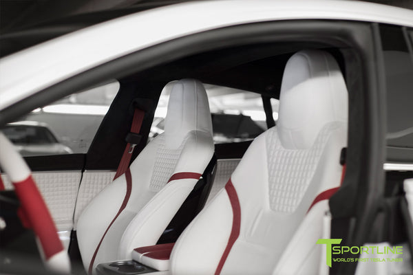 Project Snow Tiger - Model S (2012-2016) - Custom White and Red Alcantara Interior - Piano Black Trim by T Sportline 11