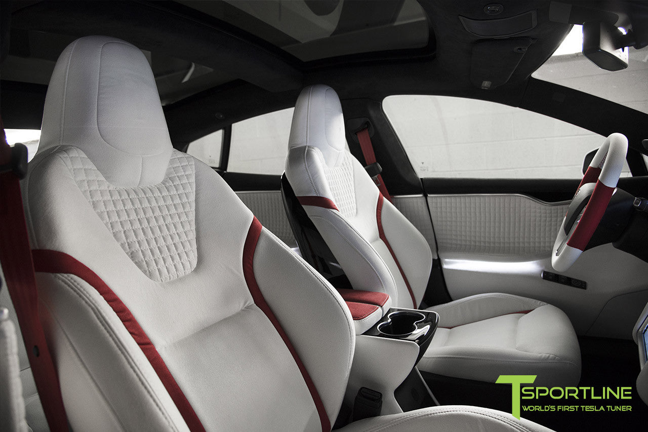 Project Snow Tiger - Tesla Model S P90D - Custom Red and White Alcantara Interior - 21 Inch TS114 Forged Wheels 9