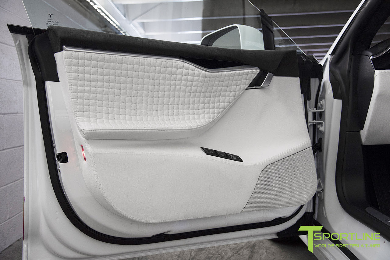 Project Snow Tiger - Model S (2012-2016) - Custom White and Red Alcantara Interior - Piano Black Trim by T Sportline 6
