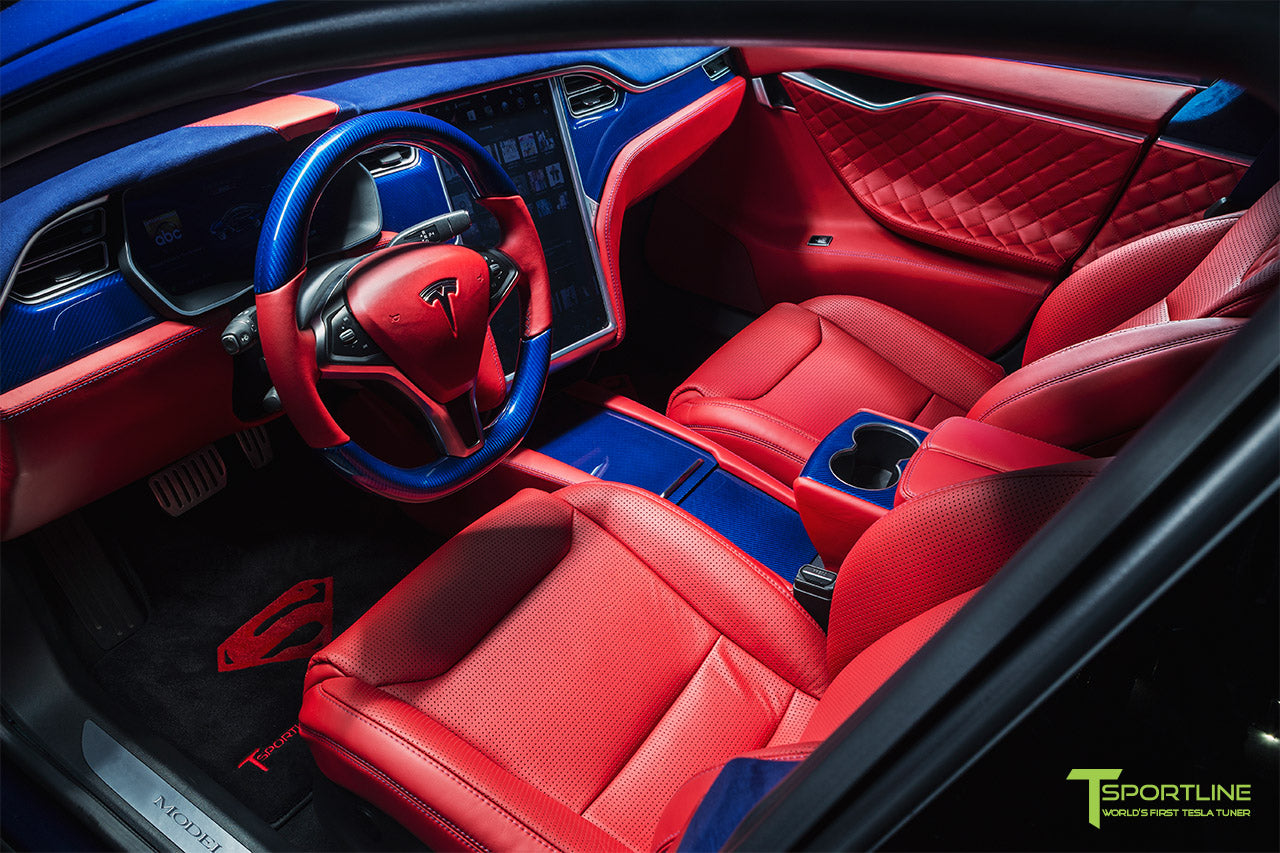 Project Superman - Custom Bentley Red Leather Interior - Blue Suede and Carbon Fiber Steering Wheel and Trim - Red Painted Seat Backs by T Sportline 8