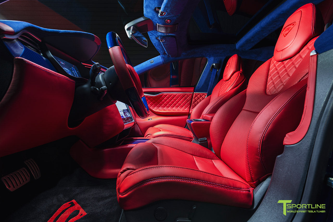 Project Superman - Custom Bentley Red Leather Interior - Blue Suede and Carbon Fiber Steering Wheel and Trim - Red Painted Seat Backs by T Sportline 7