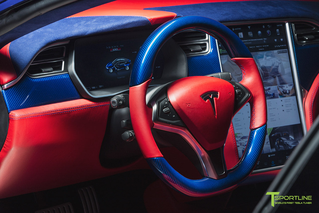 Project Superman - Custom Bentley Red Leather Interior - Blue Suede and Carbon Fiber Steering Wheel and Trim - Red Painted Seat Backs by T Sportline 6