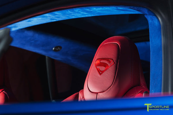 Project Superman - Custom Bentley Red Leather Interior - Blue Suede and Carbon Fiber Steering Wheel and Trim - Red Painted Seat Backs by T Sportline 5