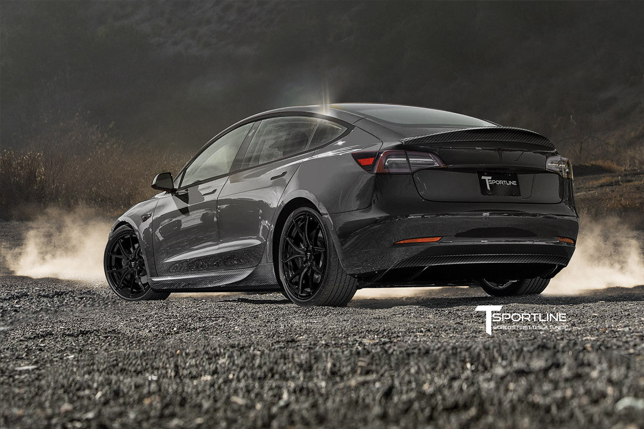 Midnight Silver Metallic Tesla Model 3 Carbon Fiber Sport Kit Concept with Gloss Black TS115 Tesla Wheel by T Sportline 1