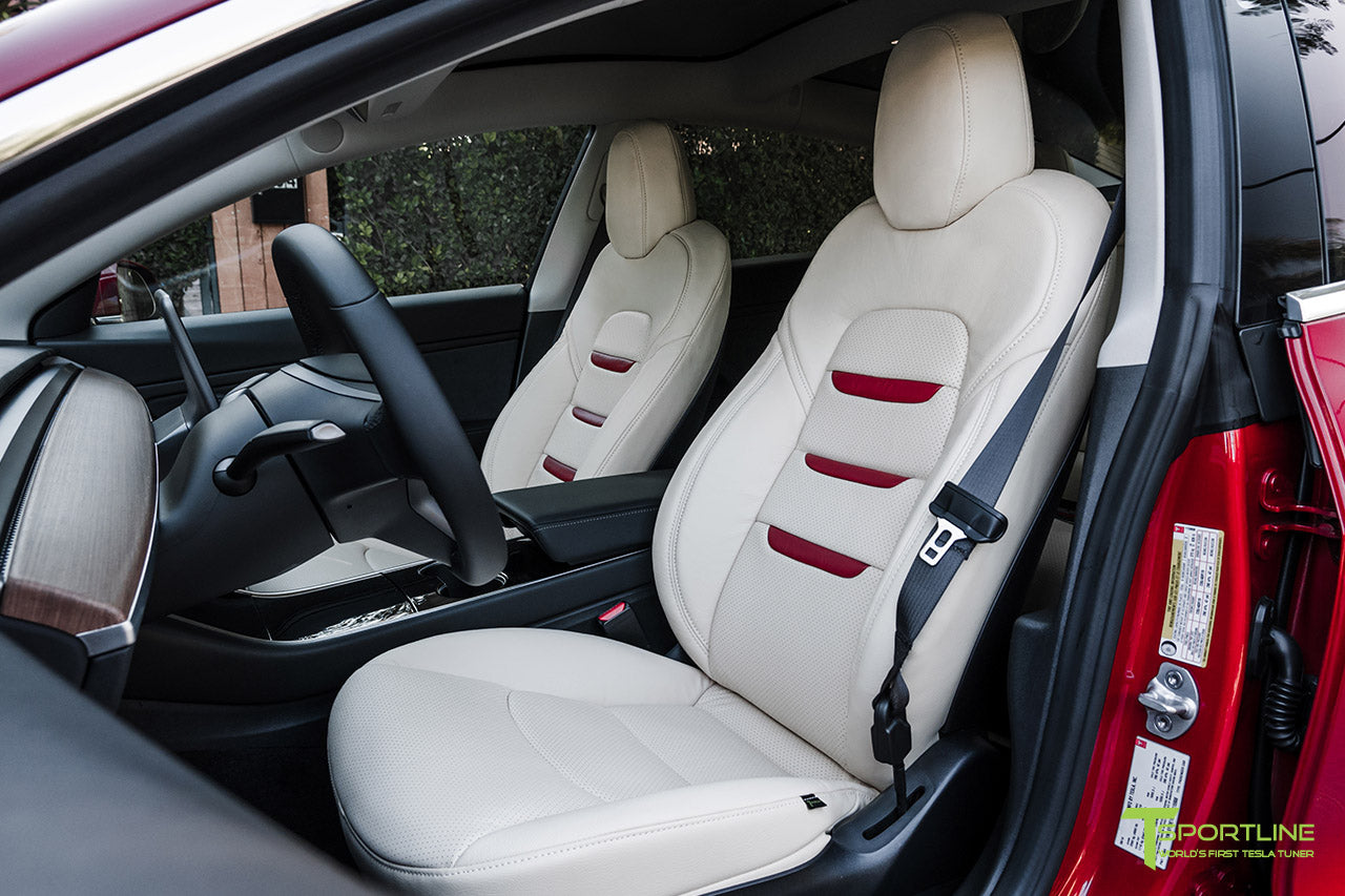 Tesla Model 3 Cream Interior Seat Upgrade Kit in Perforated Insignia Design with Red Leather by T Sportline 1