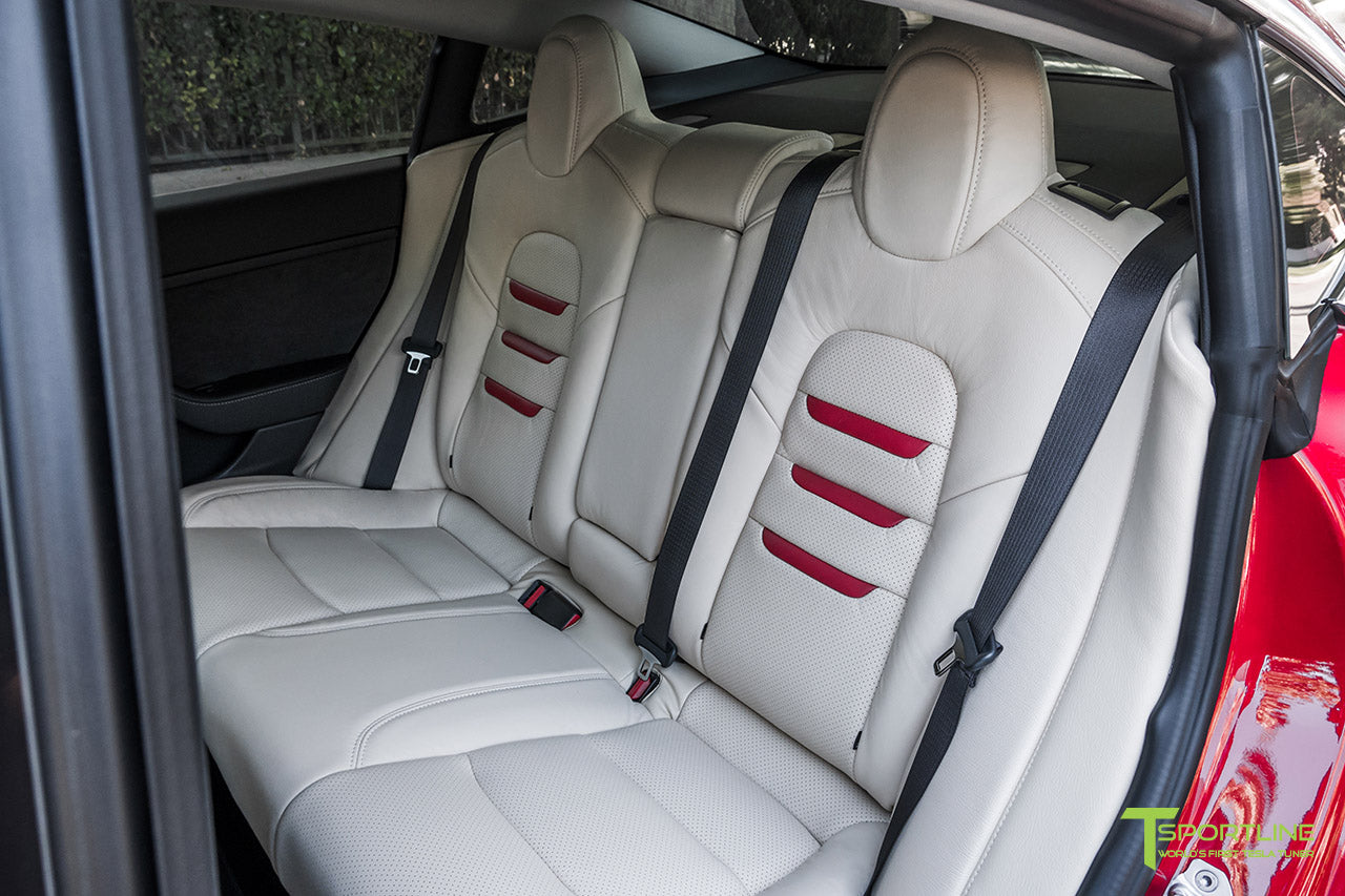 Tesla Model 3 Cream Interior Seat Upgrade Kit in Perforated Insignia Design with Red Leather by T Sportline 2