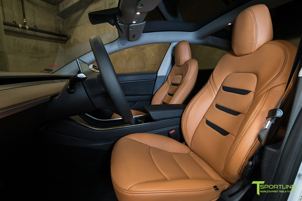 Tesla Model 3 Custom Peanut Butter Leather Seat Upgrade - Black Suede Insignia by T Sportline 1