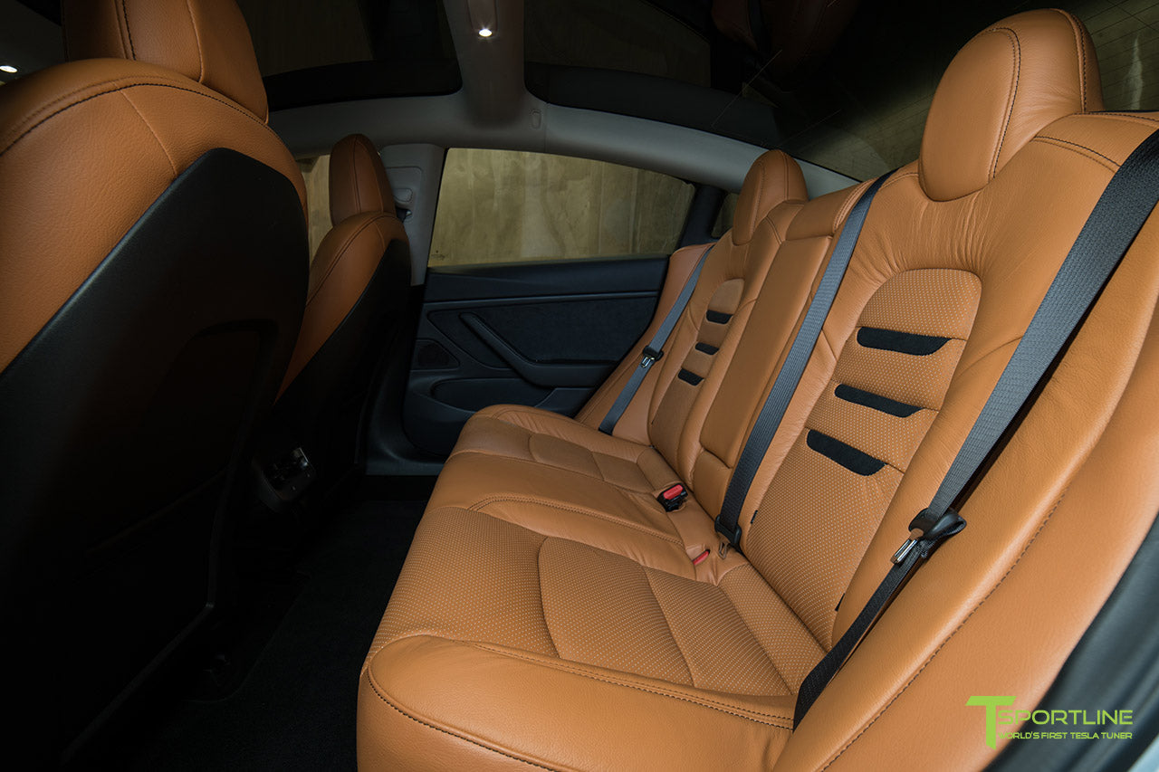 Tesla Model 3 Interior Seat Upgrade Kit Peanut Butter Leather in Perforated Insignia Design with Black Suede by T Sportline 2