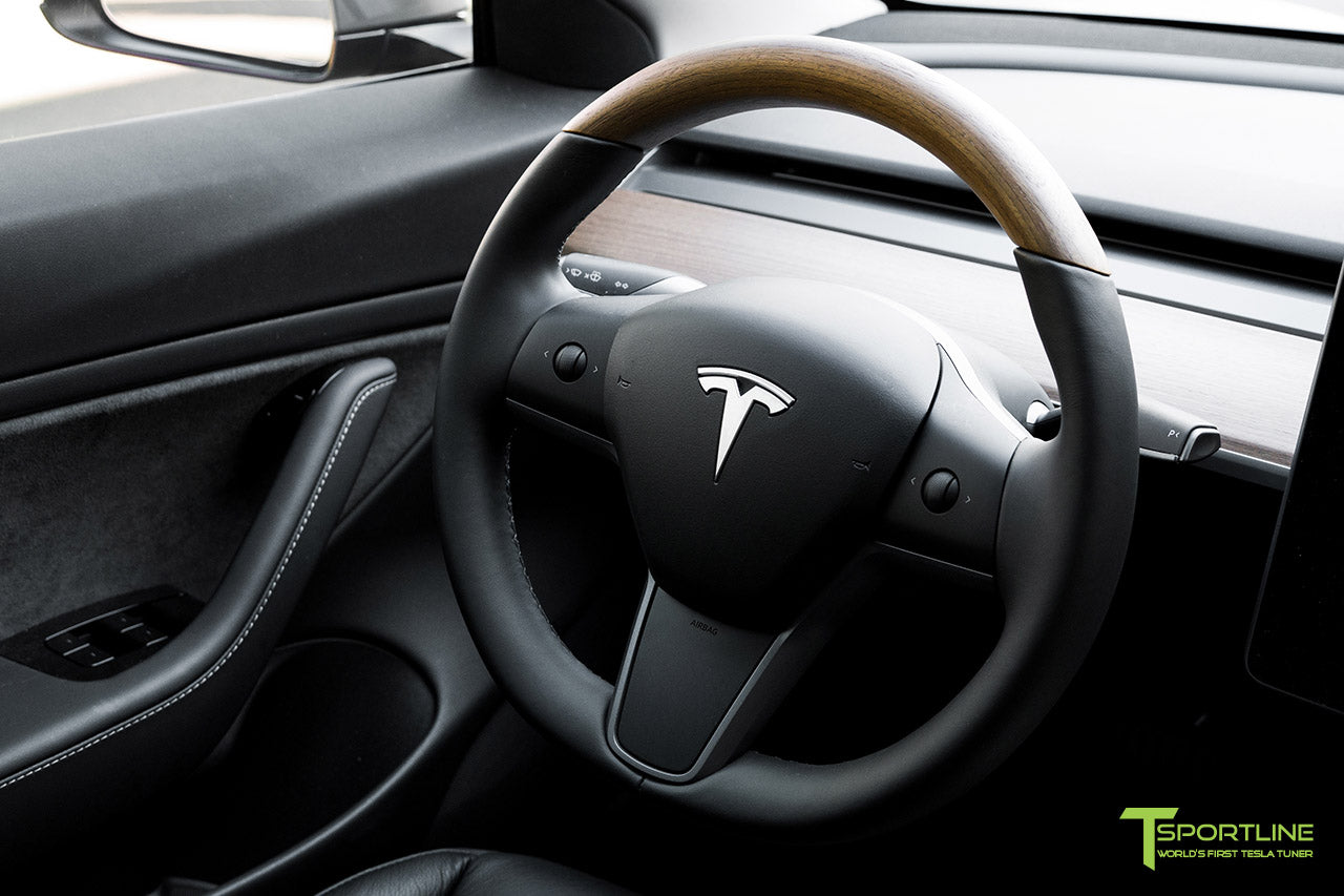 "Matte Gunmetal Metallic Tesla Model 3 with 20"" M3115 Performance Forged Wheels in Matte Black, Custom Black Leather Diamond Quilt Interior and Open Pore Wood Steering Wheel by T Sportline"