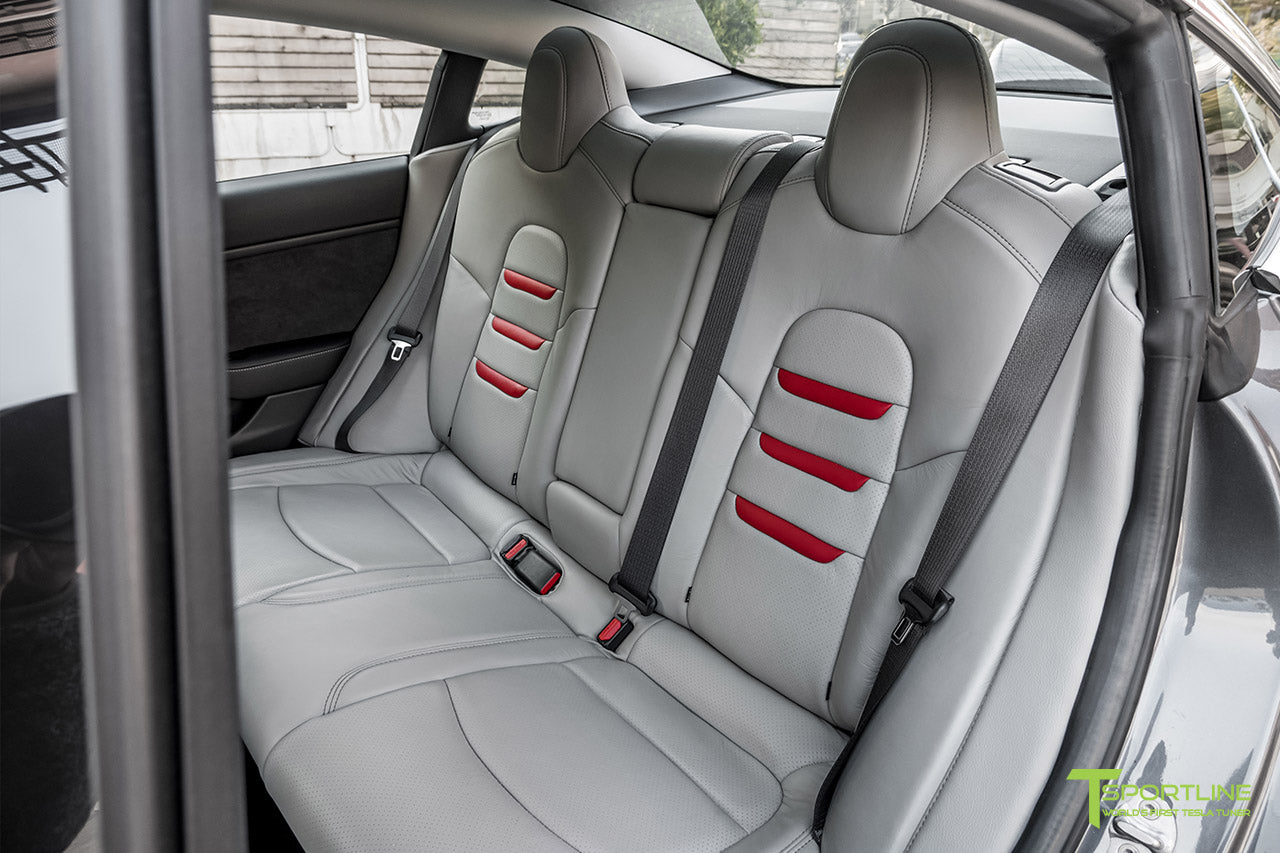 Tesla Model 3 Cream Interior Seat Upgrade Kit in Perforated Insignia Design with Gray Leather and Red Leather Insignia by T Sportline