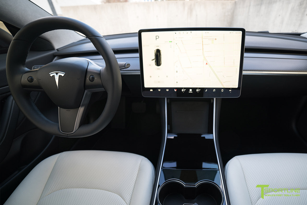 World's First Satin Black Model 3 with Matte Carbon Fiber Dashboard (Dash Panel),