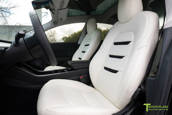 Tesla Model 3 Custom Leather Interior Kit - White Leather - Suede Black - Perforated by T Sportline 4