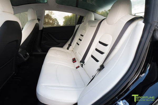 Tesla Model 3 Custom Leather Interior Kit - White Leather - Suede Black - Perforated by T Sportline 3