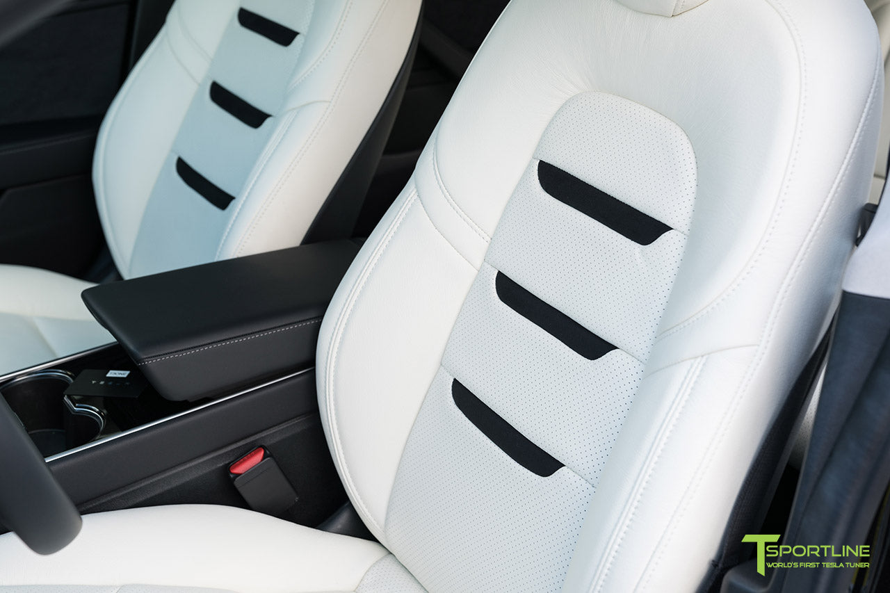 Tesla Model 3 Custom Leather Interior Kit - White Leather - Suede Black - Perforated by T Sportline 1