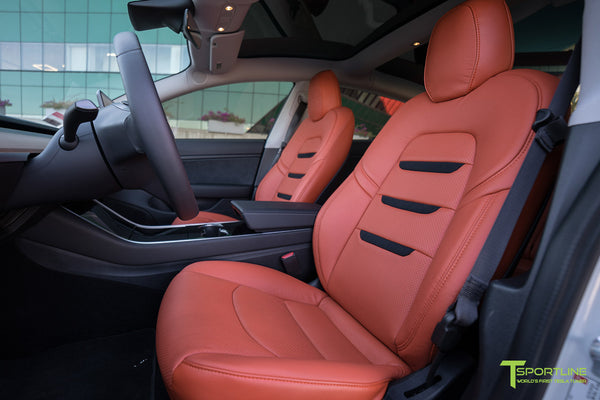 Tesla Model 3 Custom Leather Seat Upgrade Interior Kit - Tangerine Orange Leather - Black Suede Insignia - Perforated by T Sportline 2