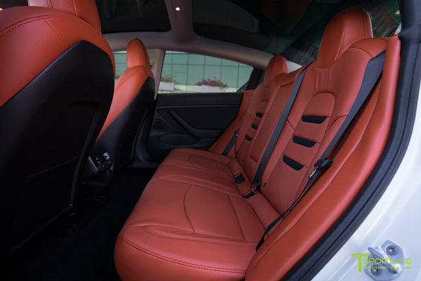 Tesla Model 3 Custom Leather Seat Upgrade Interior Kit - Tangerine Orange Leather - Black Suede Insignia - Perforated by T Sportline 1