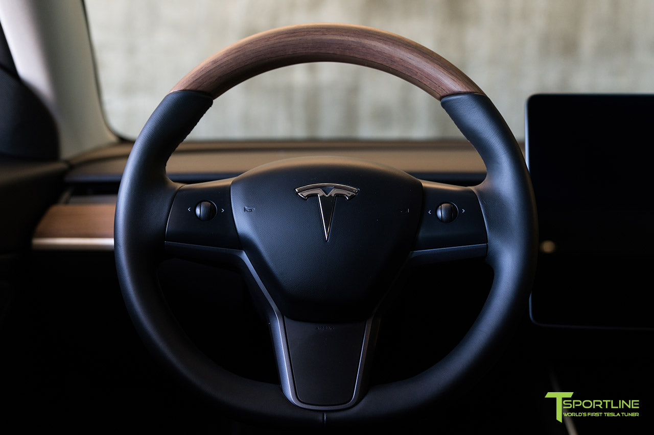 Tesla Model 3 Open Pore Wood Steering Wheel by T Sportline