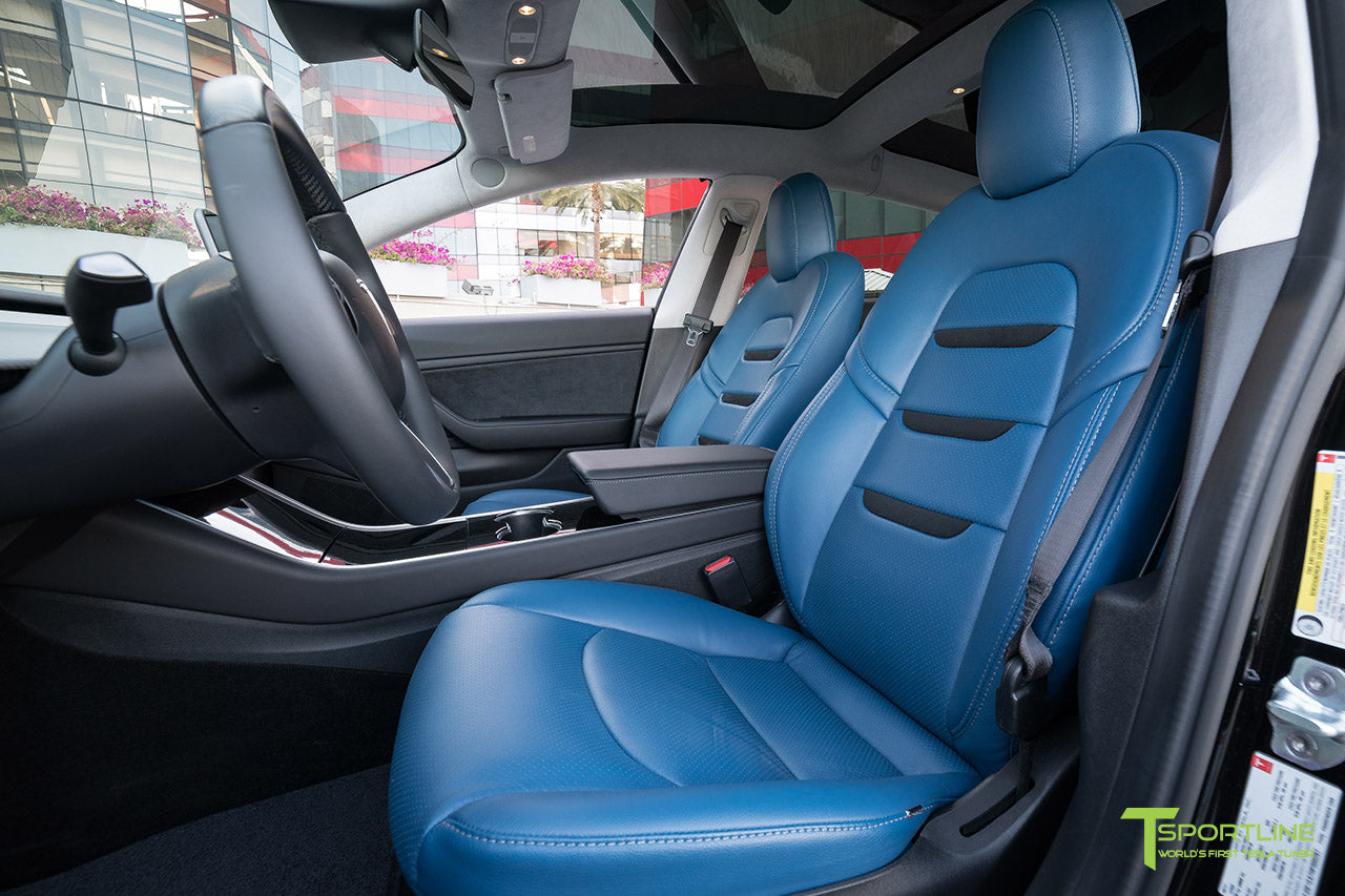 Tesla Model 3 Custom Leather Interior Kit   Blue Leather   Suede Black    Perforated By