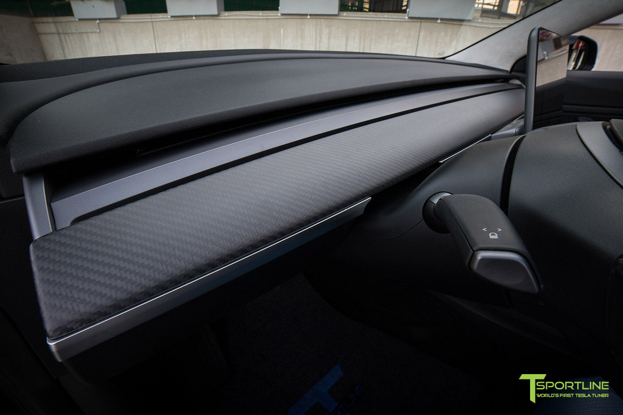 Tesla Model 3 with Matte Carbon Fiber Interior Accessories - Dashboard - Steering Wheel by T Sportline