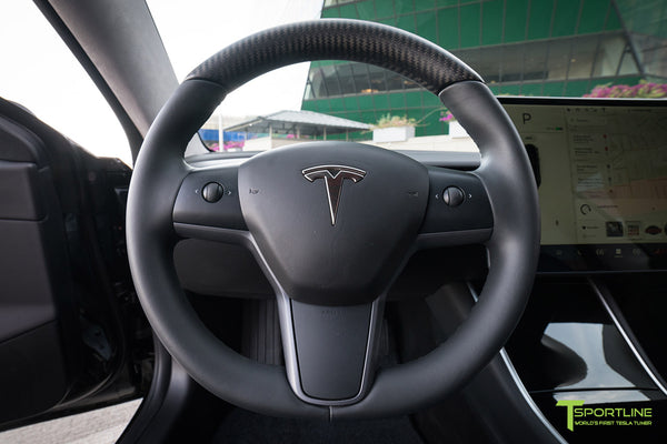 Project 3X - Black Tesla Model 3 - Custom Ocean Leather Interior - Matte Black 19 Inch TST Wheel - Matte Carbon Fiber Interior Trim - Steering Wheel - Dashboard - Floor Mat by T Sportline 4