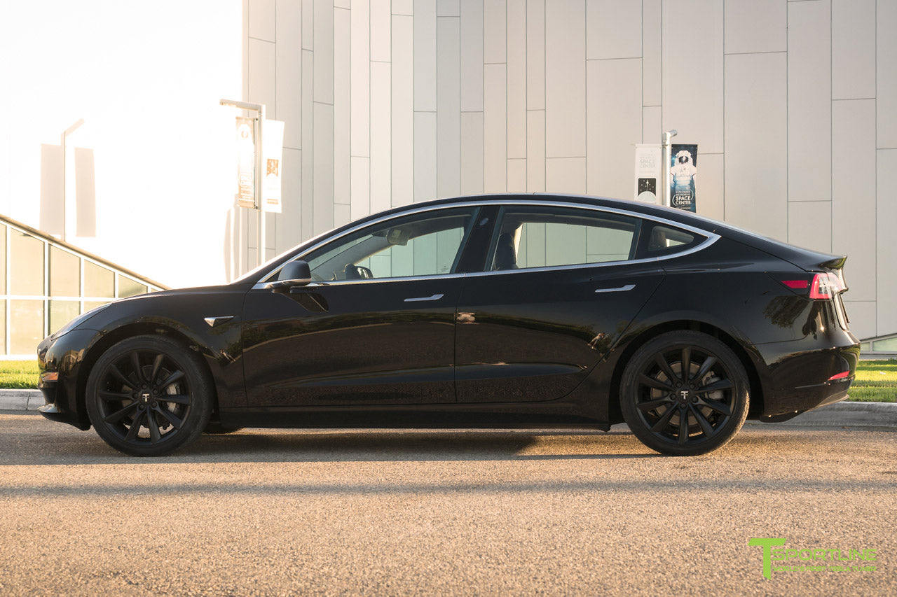 Black Tesla Model 3 with Matte Black TST Tesla Wheel by T Sportline