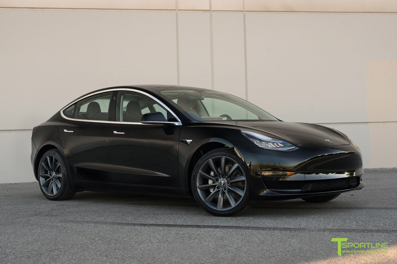 Black Tesla Model 3 with Metallic Gray/Grey TST Tesla Wheel by T Sportline