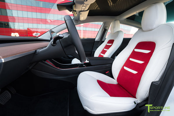 Uber White Tesla Model 3 Interior Seat Upgrade Kit with Red Suede Insert and Uber White Insignia by T Sportline 4