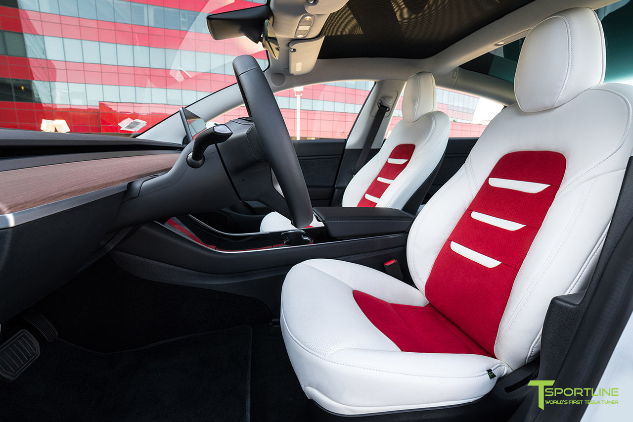 Tesla Model 3 Custom Uber White Vegan Seat Upgrade - Red Vegan Insignia by T Sportline 1