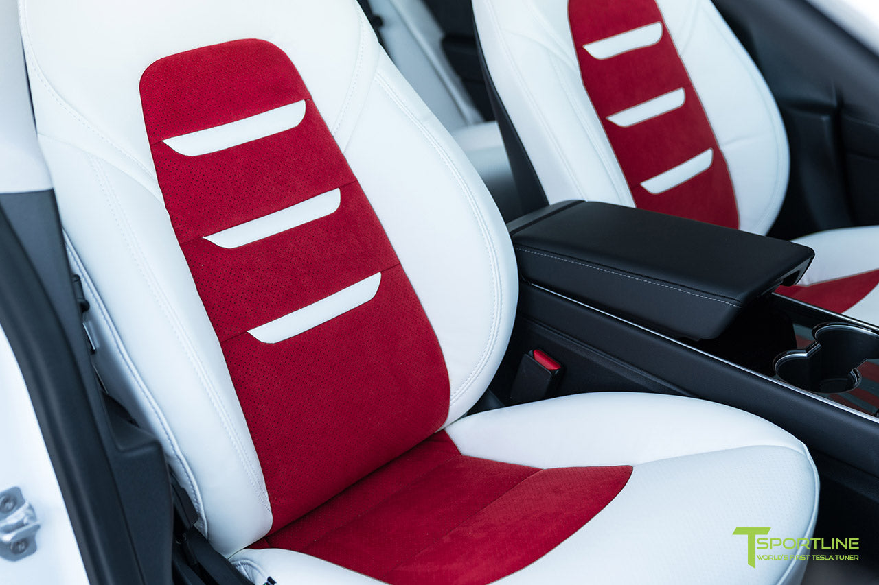 Uber White Tesla Model 3 Interior Seat Upgrade Kit with Red Suede Insert and Uber White Insignia by T Sportline 2