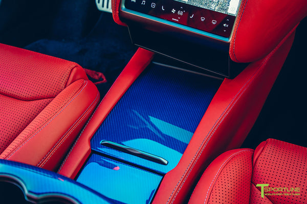 Project Superman v2 - Deep Blue Metallic 2020 Tesla Model S Performance with Superman-themed  Tesla Model S Carbon Fiber Trim in Blue, Bentley Red Leather Interior, Blue Suede accents, and yellow seatbelts by T Sportline 3