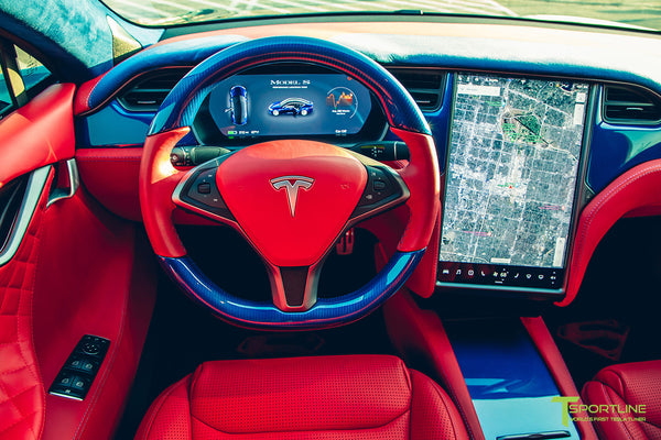 Project Superman v2 - Deep Blue Metallic 2020 Tesla Model S Performance with Superman-themed  Tesla Model S Carbon Fiber Trim in Blue, Bentley Red Leather Interior, Blue Suede accents, and yellow seatbelts by T Sportline 2