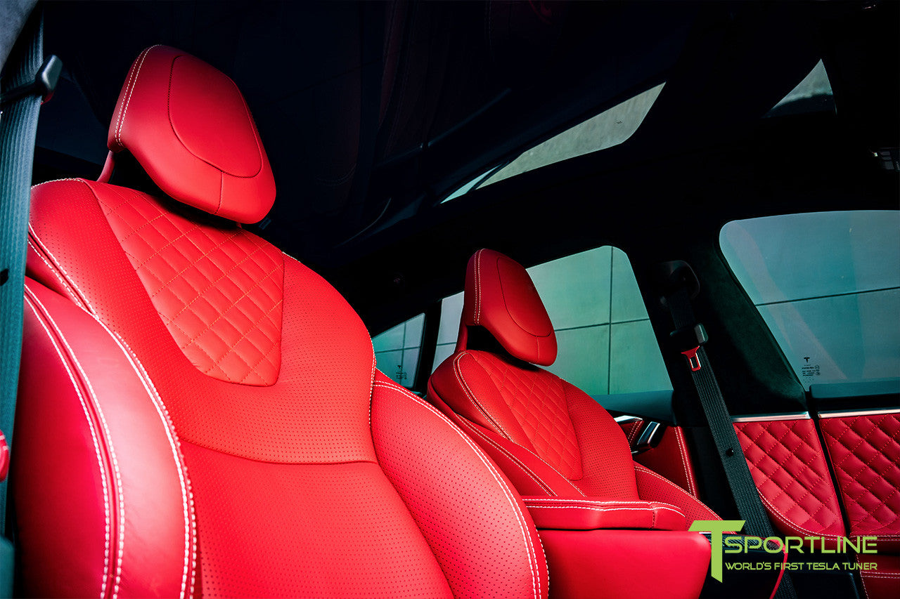 Project SuperAmerica - Tesla Model S P100D - Custom Bentley Red Interior - Carbon Fiber Dash Kit - Dashboard - Seatbacks - Steering Wheel by T Sportline 13