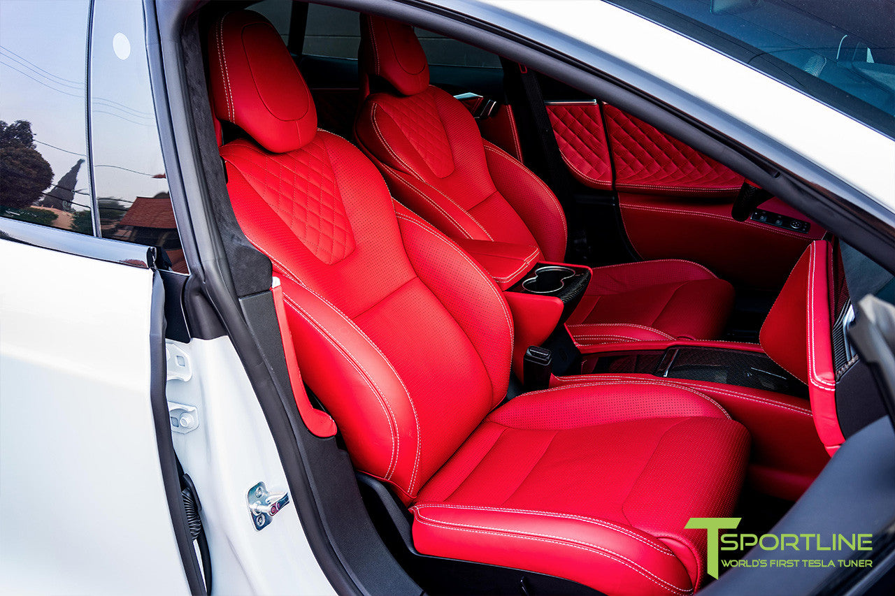 Project SuperAmerica - Tesla Model S P100D - Custom Bentley Red Interior - Carbon Fiber Dash Kit - Dashboard - Seatbacks - Steering Wheel by T Sportline 14