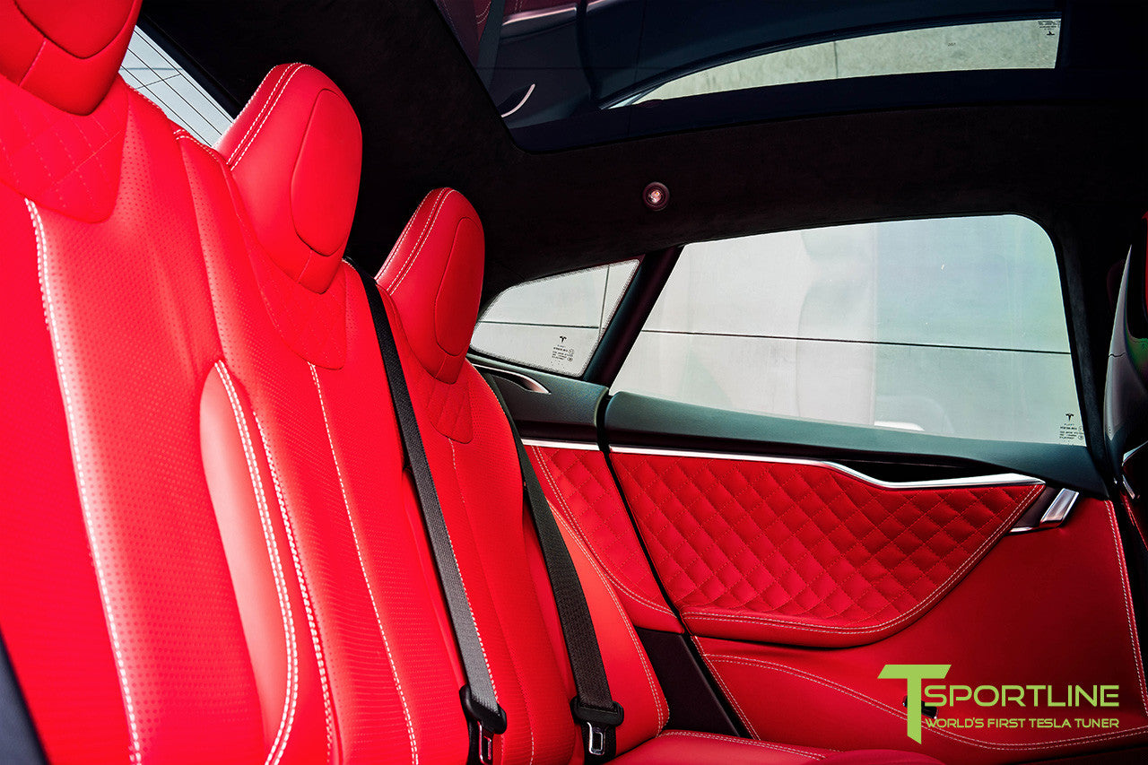 Project SuperAmerica - Tesla Model S P100D - Custom Bentley Red Interior - Carbon Fiber Dash Kit - Dashboard - Seatbacks - Steering Wheel by T Sportline 6