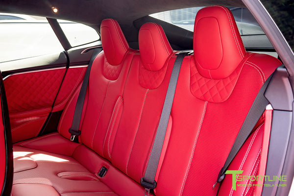 Project SuperAmerica - Tesla Model S P100D - Custom Bentley Red Interior - Carbon Fiber Dash Kit - Dashboard - Seatbacks - Steering Wheel by T Sportline 4