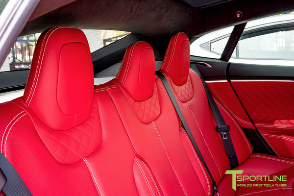 Project SuperAmerica - 2016 Tesla Model S P100D Ludicrous - Custom Bentley Red Interior 4